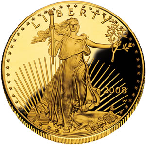 2008 American Eagle Gold Proof Coin - Obverse - United States Mint image