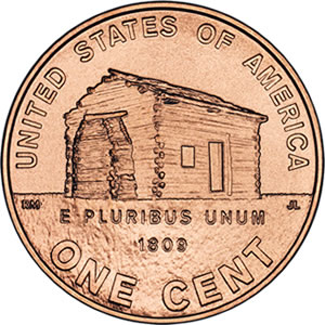 Reverse side of 1st 2009 Lincoln Cent