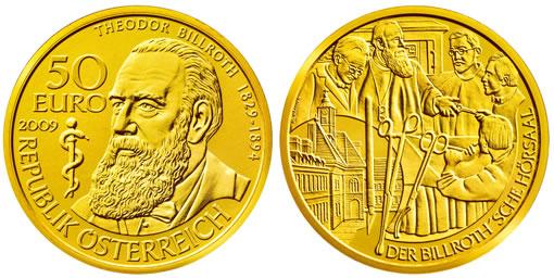 Austrian 2009 Theodor Billroth Gold Coin (Austrian Mint image)