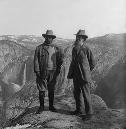 President Theodore Roosevelt and John Muir on Glacier Point