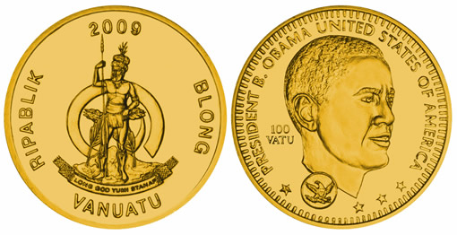 Vanuatu Gold Coin Commemorating Barack Obama