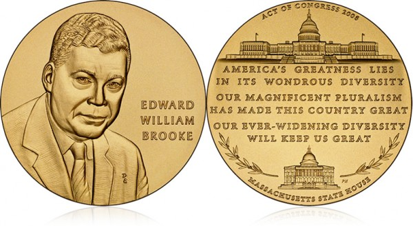 Edward William Brooke III with the Congressional Gold Medal (Bronze Duplicate) - Click to Enlarge