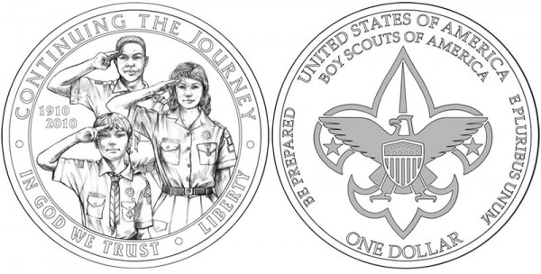 2010 Boy Scouts of America Centennial Commemorative Coin Design - Click to Enlarge
