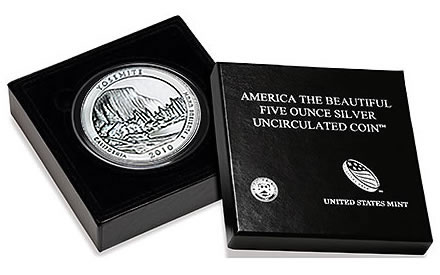 Yosemite National Park Five Ounce Silver Uncirculated Coin