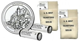 Acadia National Park Quarter in Two-Roll Set and Bags