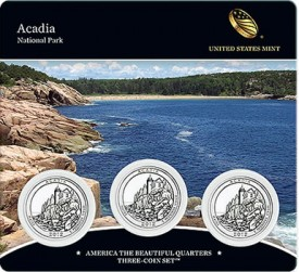 Acadia Quarters Three Coin Set