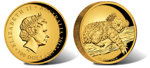 2012 Australian Koala High Relief Gold Proof Coin
