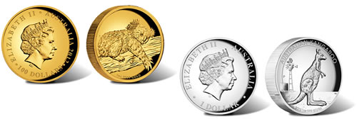 2012 High Relief Australian Kangaroo and Kola Coins