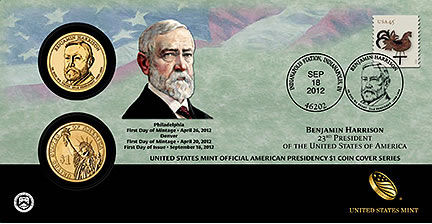 2012 Benjamin Harrison Presidential Dollar Coin Cover