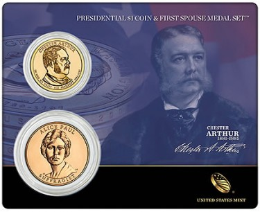 Chester Arthur Presidential $1 Coin and Alice Paul Bronze Medal Set