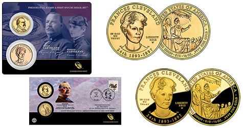 Second Term Cleveland Presidential $1 Coin & Medal Set, Coin Cover and First Spouse Gold Coins