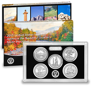 Silver Proof Set of 2013 America the Beautiful Quarters