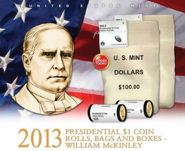 US Mint image of William McKinley Presidential dollars