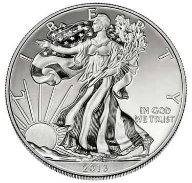 2013-W Enhanced Uncirculated American Eagle Silver Coin - Obverse
