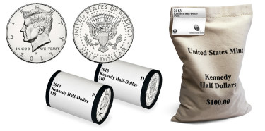2013 Kennedy Half-Dollar, Two-Roll Set and 200-Coin Bag