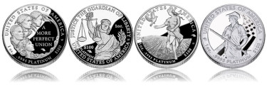 Reverses of the 2009 - 2012 American Platinum Eagle Proof Coins