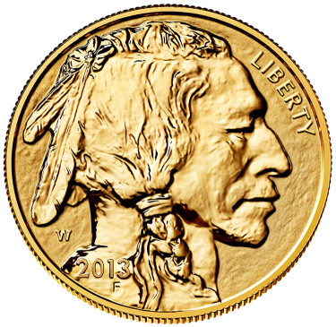 2013-W $50 Reverse Proof American Buffalo Gold Coin - Obverse Side