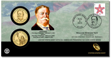 2013 William Howard Taft Presidential Dollar Coin Cover - Front