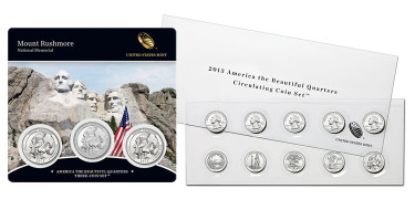 Mount Rushmore Quarters Three-Coin Sets, 2013 America the Beautiful Quarters Circulating Coin Set