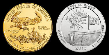 Sold US Mint Products - uncirculated American Gold Eagle and Fort McHenry silver coin